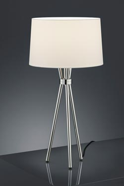 Lampe de table trépied en nickel poli . Baulmann Leuchten.