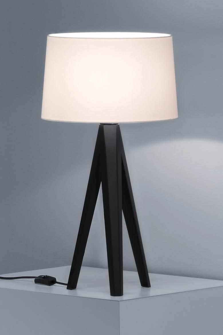 Lampe de table trépied noir abat-jour chintz blanc. Baulmann Leuchten.