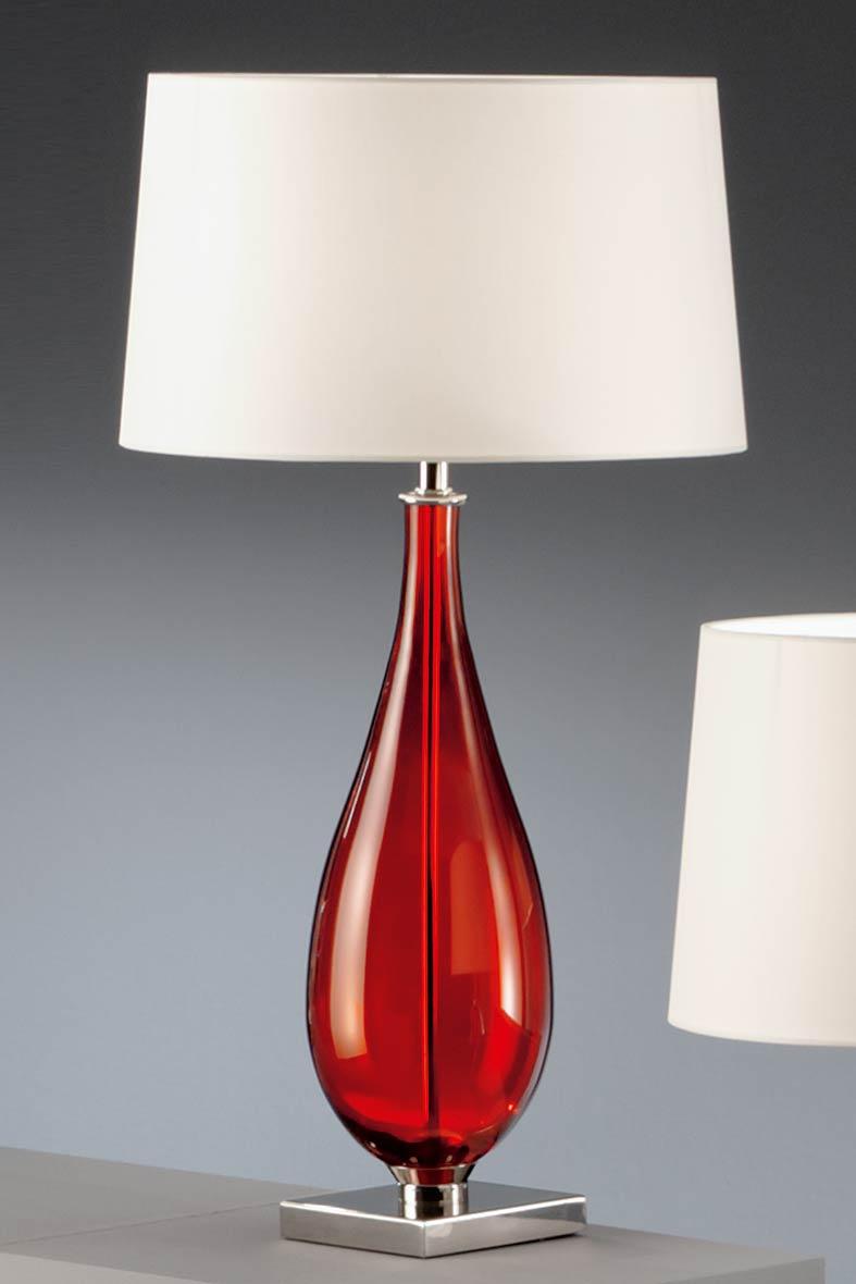Lampe en verre rouge et chintz blanc baulmann leuchten - Lampe sans abat jour ...