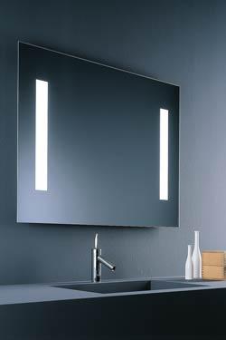 Miroir carré lumineux double fluo en face avant. Baulmann Leuchten.
