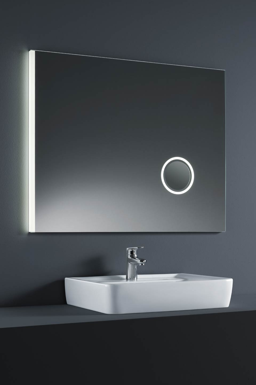 Miroir lumineux led avec partie grossissante int gr e - Miroir salle de bain lumineux avec prise de courant ...