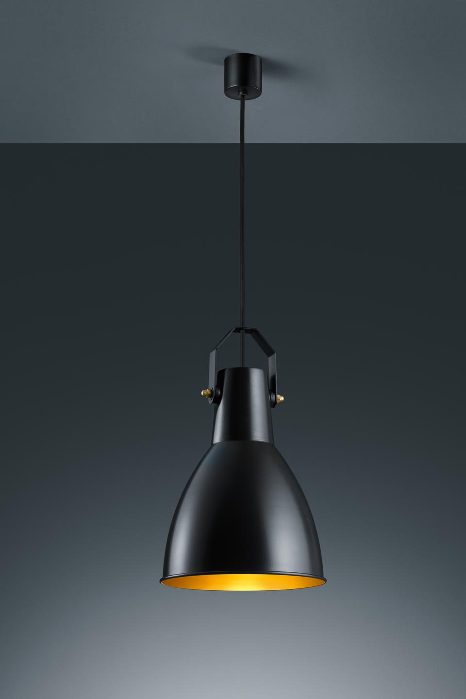 Suspension longue en m tal noir mat style industriel baulmann leuchten lumin - Suspension luminaire style industriel ...