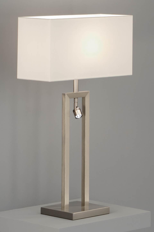 Table Lamp With Matt Nickel Led Reading Light And White Chintz Shade Baulmann Leuchten Luxury Lightings Made In Germany Réf 12070027