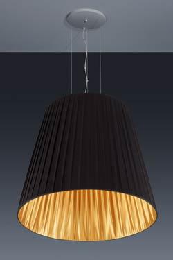 Très grande suspension conique en taffetas de tissu plissé noir et or. Baulmann Leuchten.