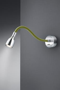 Bedside reading lamp on green flexible arm. Baulmann Leuchten.