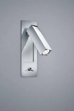 Chrome recessed LED wall light. Baulmann Leuchten.