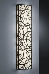 Wall lamp antique bronze patterns in circles rectangular shape. Baulmann Leuchten.
