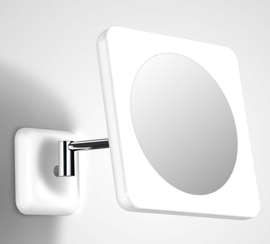 i Kwadrat 2 miroir carré mural à LED sur bras orientable. bpe:LICHT.