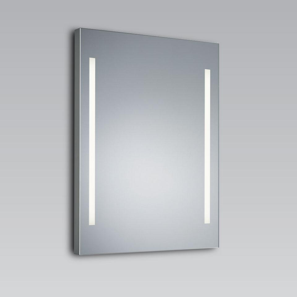 Look 2 Miroir lumineux à 2 bandes en cristal blanc dépoli 60x80cm. bpe:LICHT.