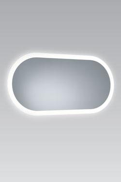 Miroir lumineux à bords en verre dépoli blanc