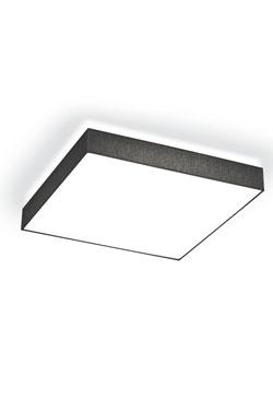 Plafonnier carré en tissu noir et diffuseur blanc 25cm. bpe:LICHT.