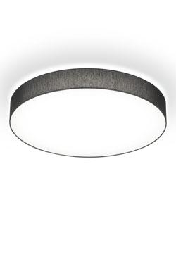 Plafonnier rond en Chintz noir et diffuseur blanc 25cm. bpe:LICHT.