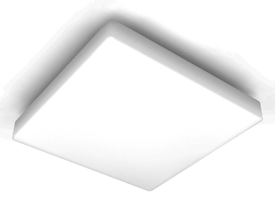 Plafonnier carré blanc pour salle de bains en verre opale