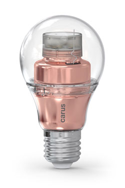 Ampoule LED connectée par bluetooth, Smart Look version cuivrée. Carus.