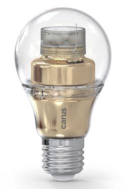 Ampoule LED connectée par bluetooth, Smart Look version dorée. Carus.
