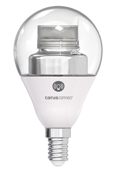 Ampoule LED Smart White connectée par bluetooth, culot E14, verre clair. Carus.