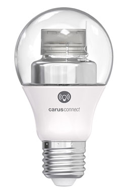 Ampoule LED Smart White connectée par bluetooth, culot E27, verre clair. Carus.