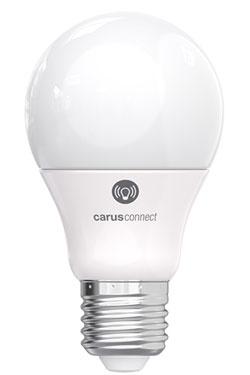 Ampoule LED Smart White connectée par bluetooth, culot E27, verre opale. Carus.