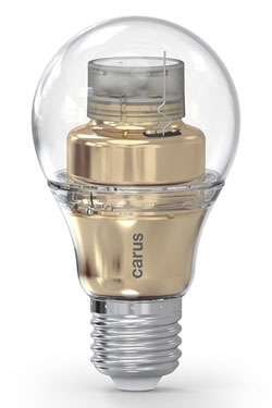 LED bulb connected by bluetooth, Smart Look gold version. Carus.