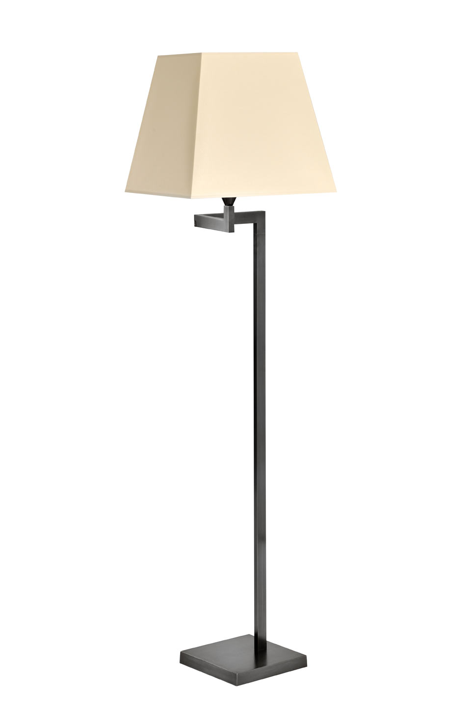 Articulated black patinated floor lamp, ivory shade LD59. Casadisagne.