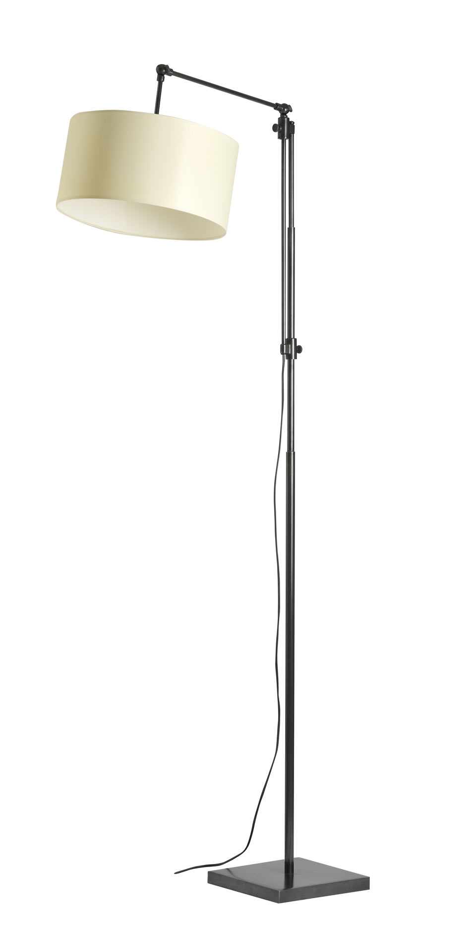 Large floor lamp reading lamp with gallows, round lampshade black patinated metal LD30. Casadisagne.