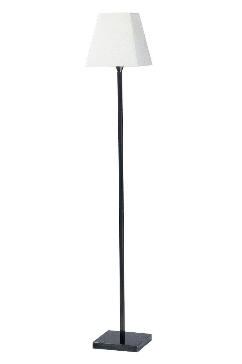 Slim Floor Lamp White Pyramid Lampshade And Square Base Patina Black 135cm Ld58 Casadisagne