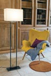 Floor lamp with gray linen lampshade LD64. Casadisagne.