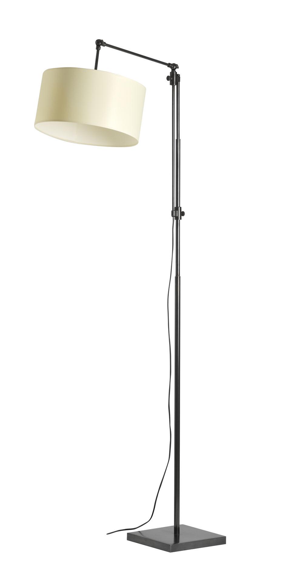 Grand lampadaire liseuse potence abat-jour rond métal patiné noir LD30. Casadisagne.