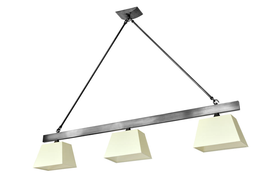 Suspension triple m tal patin noir barre horizontale for Luminaire triple suspension