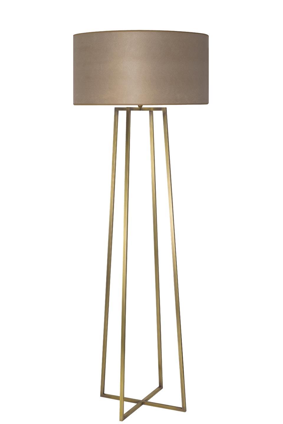 Grand lampadaire quatre pieds reliés en laiton LD76. Casadisagne.