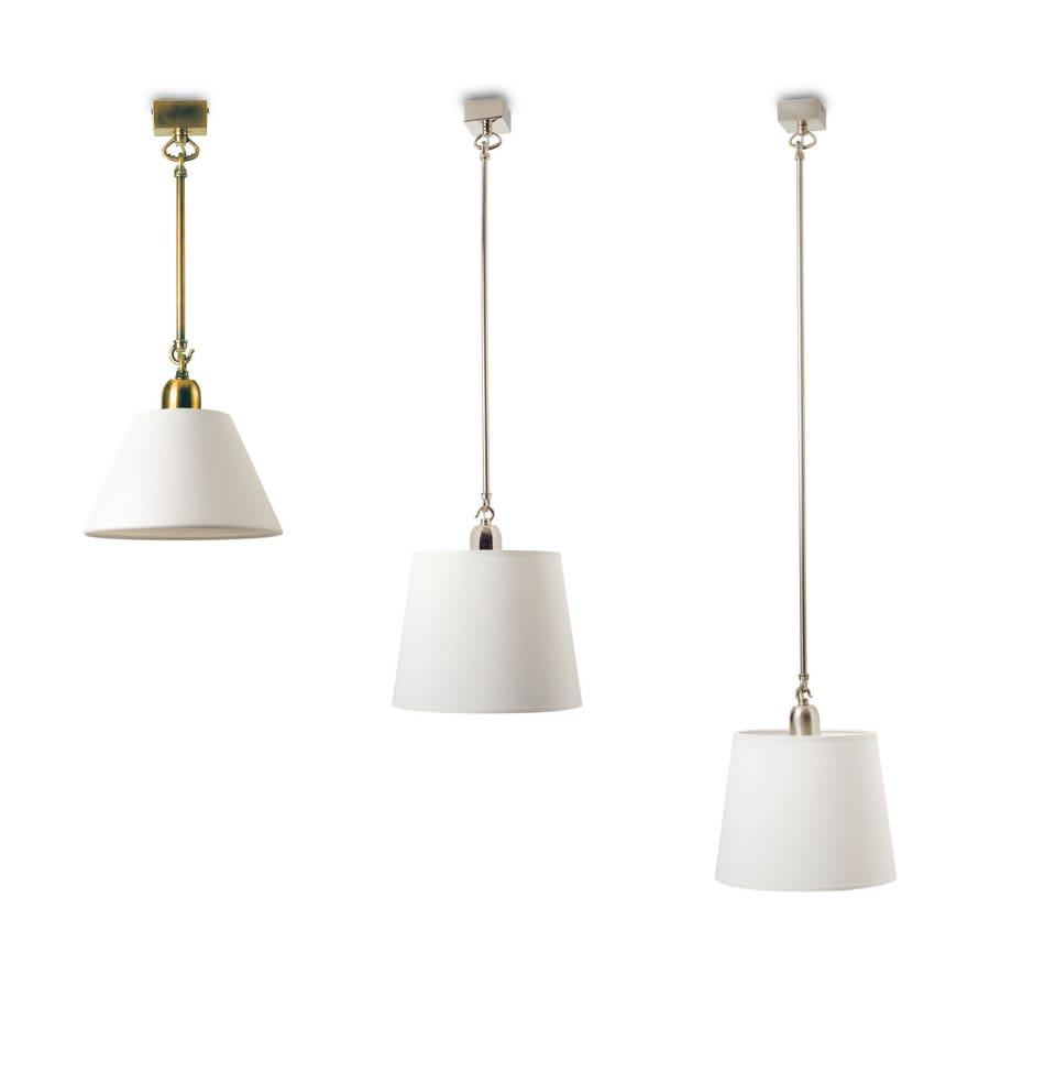 Large brushed nickel pendant and conical shade S01. Casadisagne.