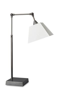 Bronze patina table lamp with telescopic and articulated stem L88. Casadisagne.