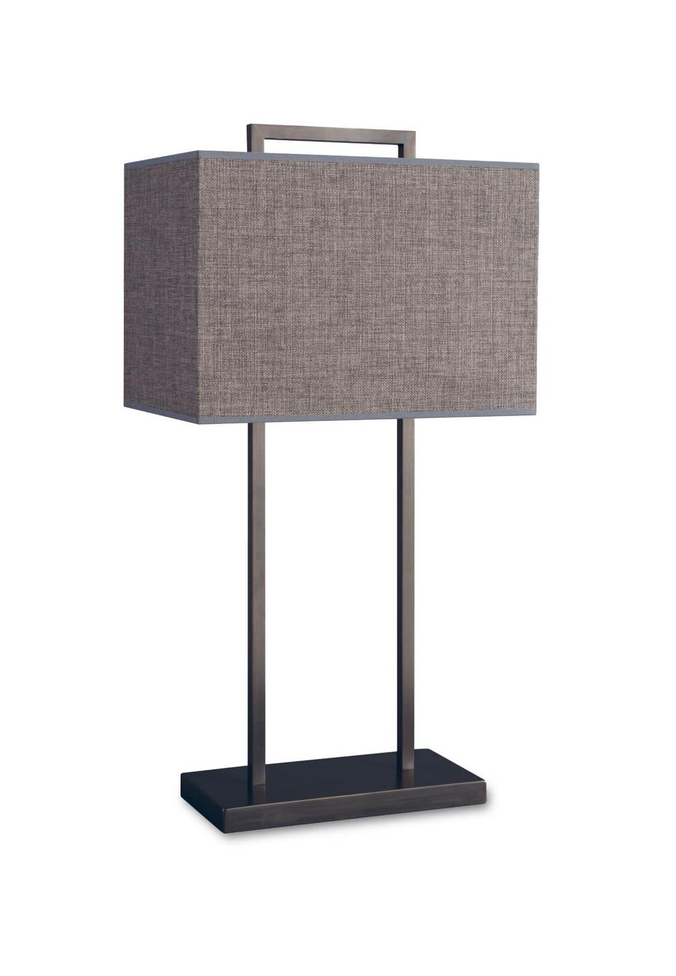 Table lamp with gray rectangular lampshade L75. Casadisagne.