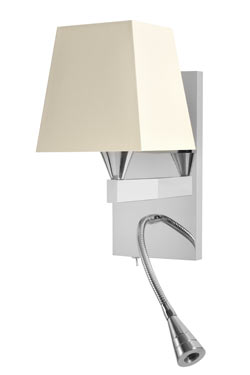 Bright nickel finish bedside wall lamp with flexible LED AL008. Casadisagne.