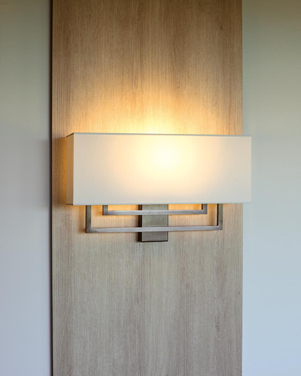 Large patinated bronze wall lamp white shade AL104. Casadisagne.