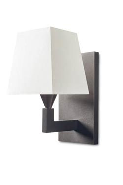 Patinated bronze wall lamp with white pyramid lampshade AL 002. Casadisagne.