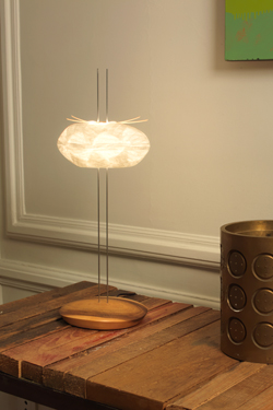 Design table lamp, Japanese paper pebble on double stainless steel rod and foot in solid walnut