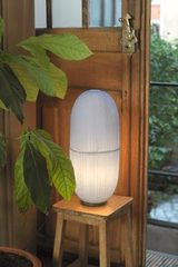 Crystal H table lamp Japanese paper pill. Céline Wright.