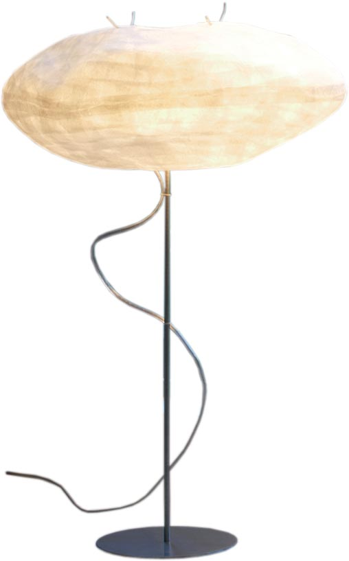 Cocon design table lamp with white pebble, foot and base in brushed stainless steel