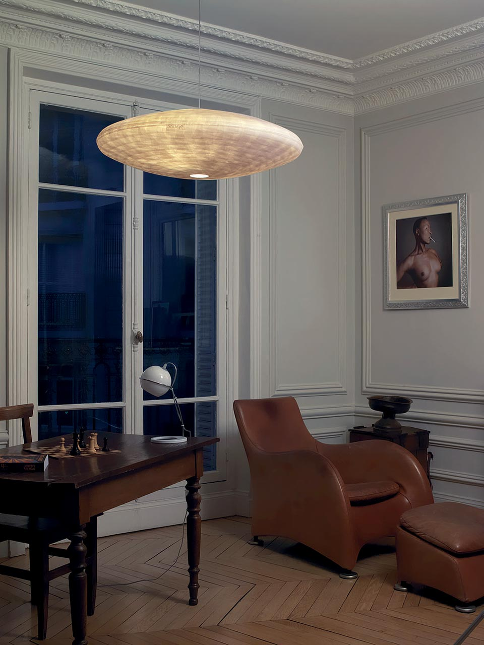 Luminaire suspension en papier japonais de grande dimension