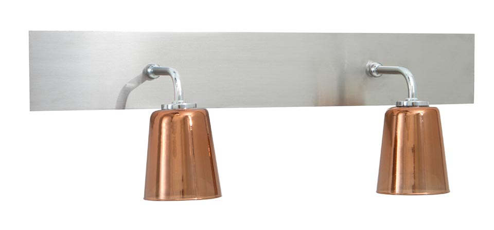 Applique en verre cuivré et nickel brossé pour la salle de bains, IP44,  existe en simple