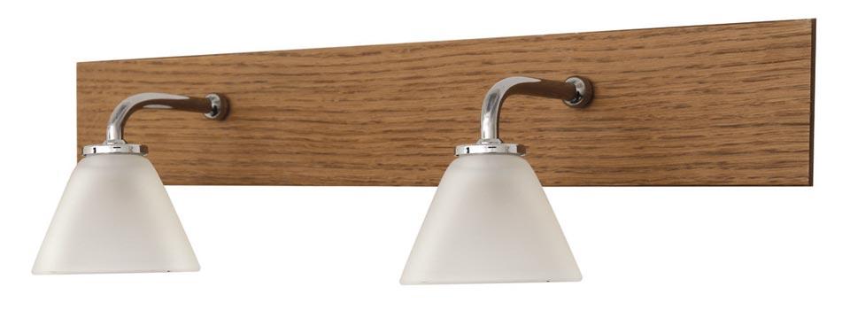 Applique double pour salle de bains en chêne clair  et verre sablé Bemol. Concept Verre.