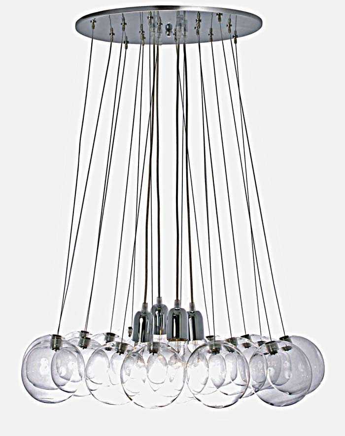 Suspension boules transparentes lumineuse for Suspension lumineuse