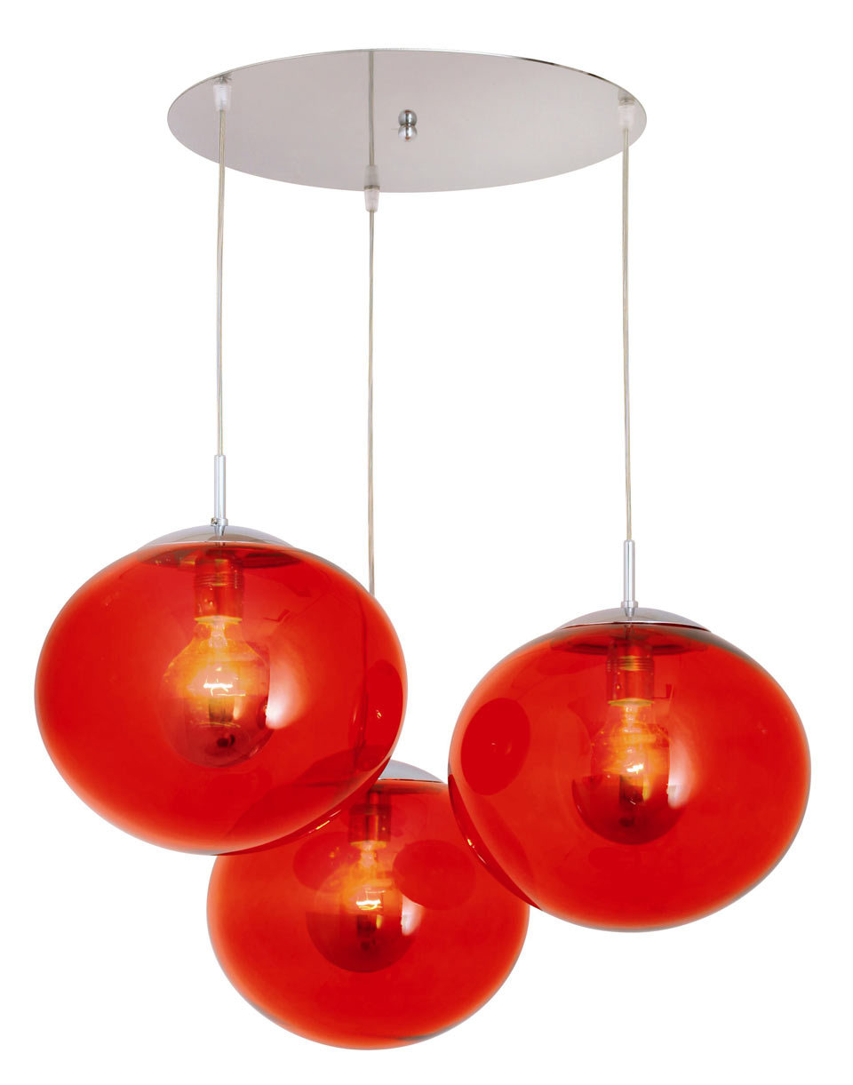 Lux women suspension triple rouge luminaire concept for Luminaire triple suspension