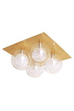 Plafonnier ou applique carré 4 boules en laiton satiné Star 4. Concept Verre.