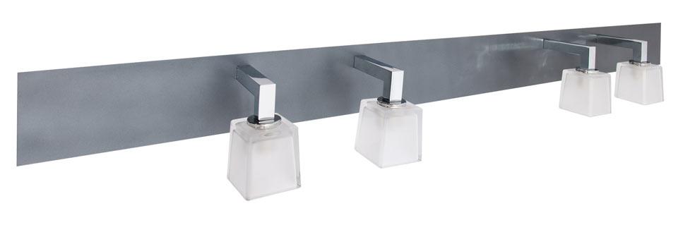 Quadra applique double vasque finition ardoise verrine sablées. Concept Verre.