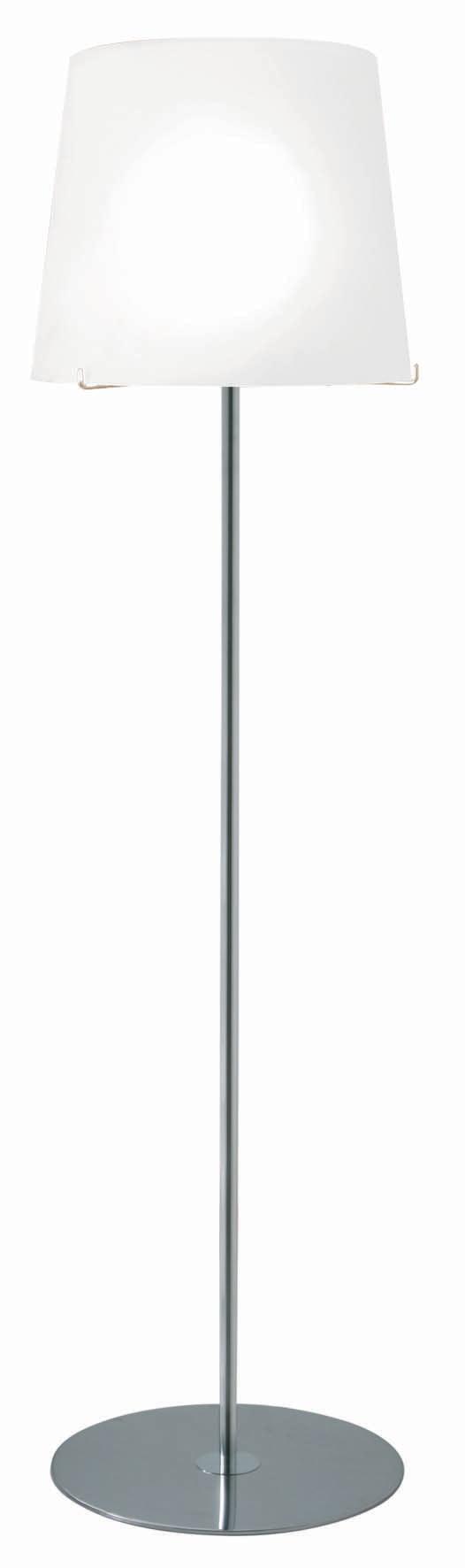Single lampadaire chromé avec verrerie acidée blanche. Concept Verre.