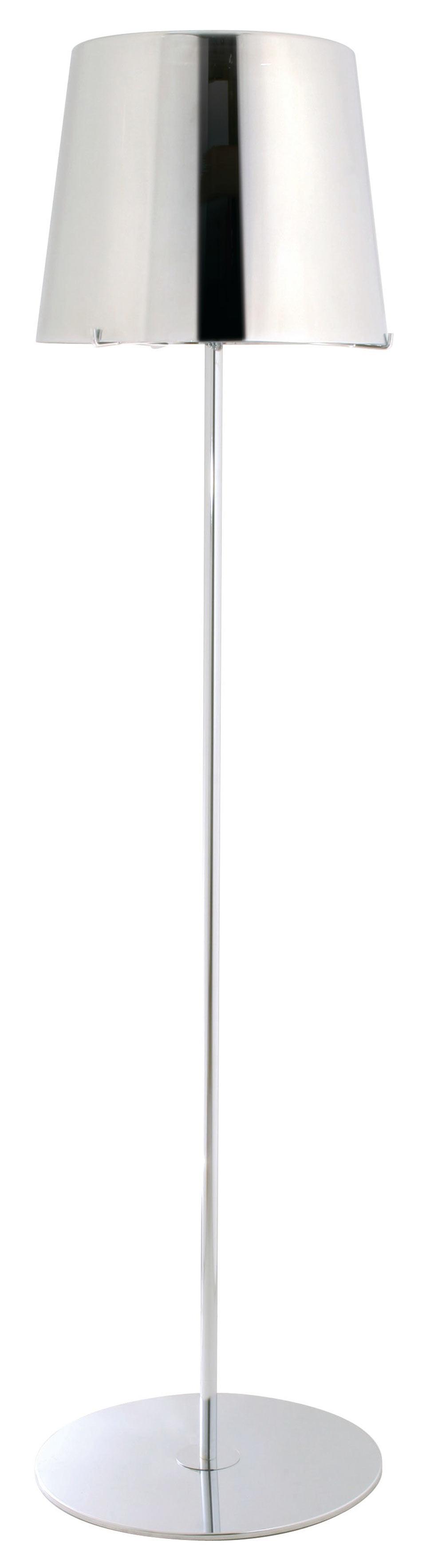 Single lampadaire chromé avec verrerie métallisée. Concept Verre.