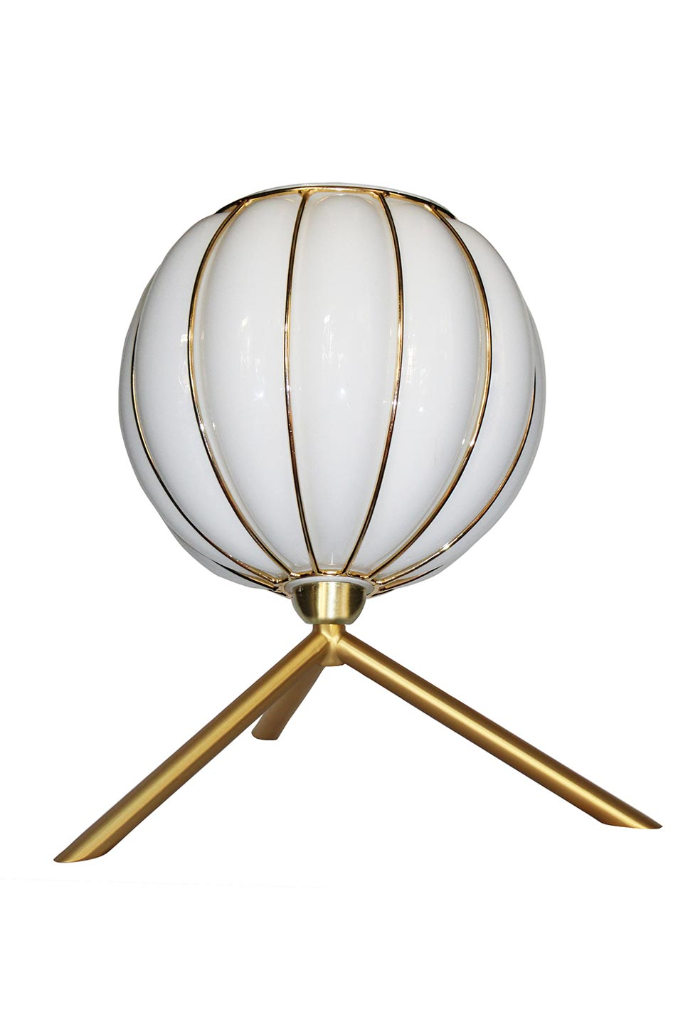 Casamance glass ball and brushed brass table lamp. Concept Verre.