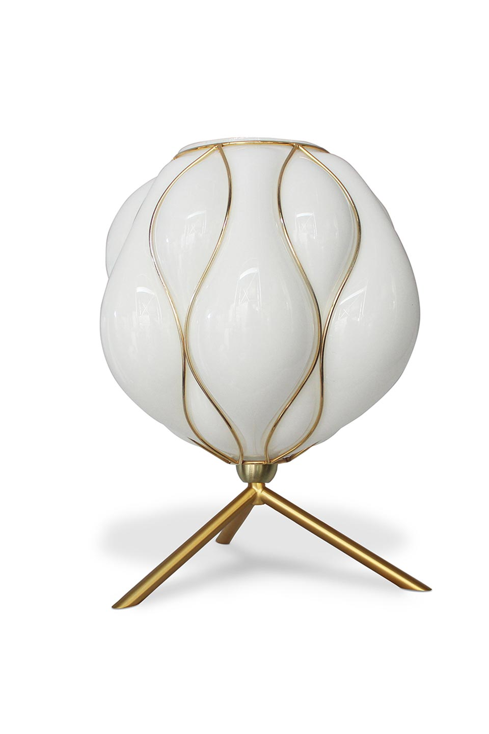 Casamance Table Lamp In White Opal Glass And Brushed Brass Luminaire Concept Verre Ref 19050064